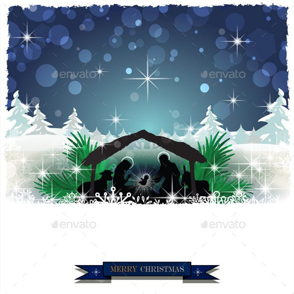 Nativity Silhouette with Snow Covered Hut