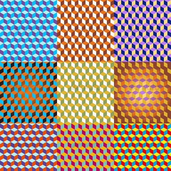 3D Cubes Seamless Pattern
