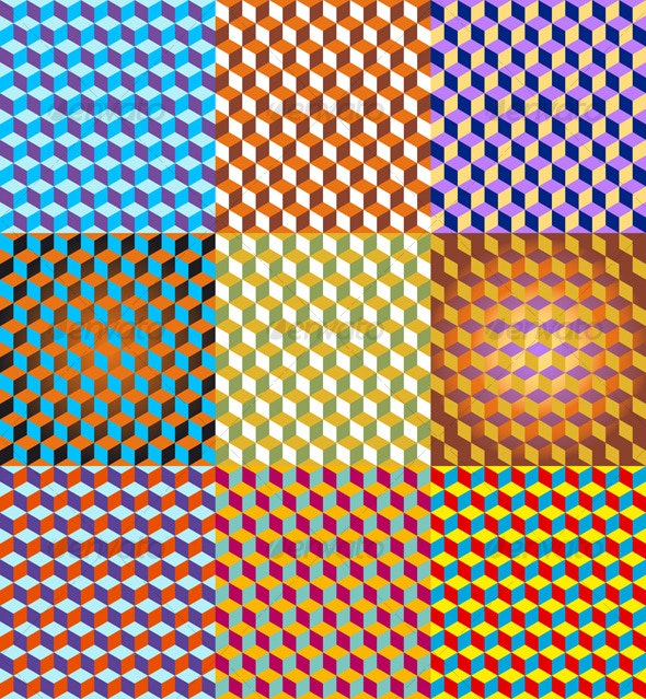 3D Cubes Seamless Pattern - Abstract Conceptual