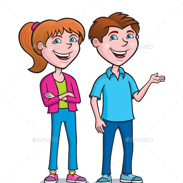 Two Teens Standing and Smiling