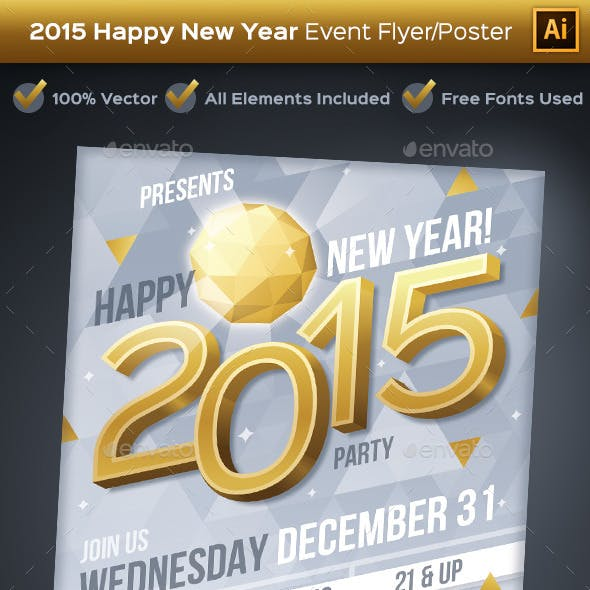 New Year 2015 Party Event Flyer or Poster