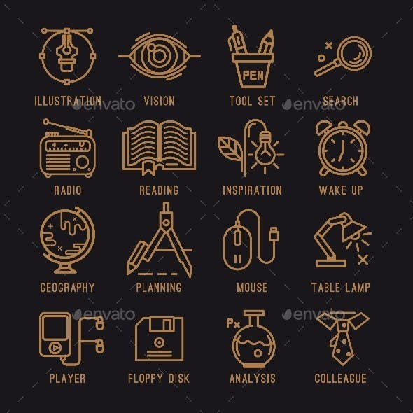 Set of Office Icons.