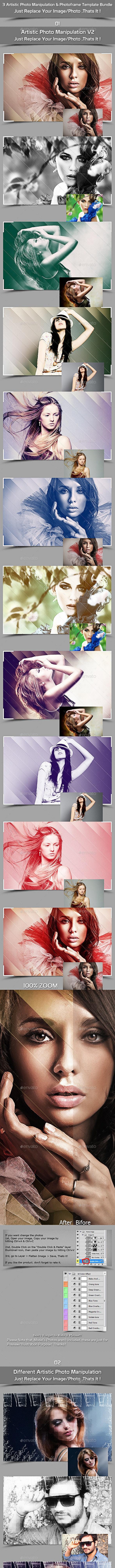 3 Artistic Photo Manipulation & Template Bundle - Photo Templates Graphics