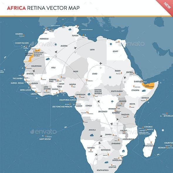 Africa Retina Vector Map