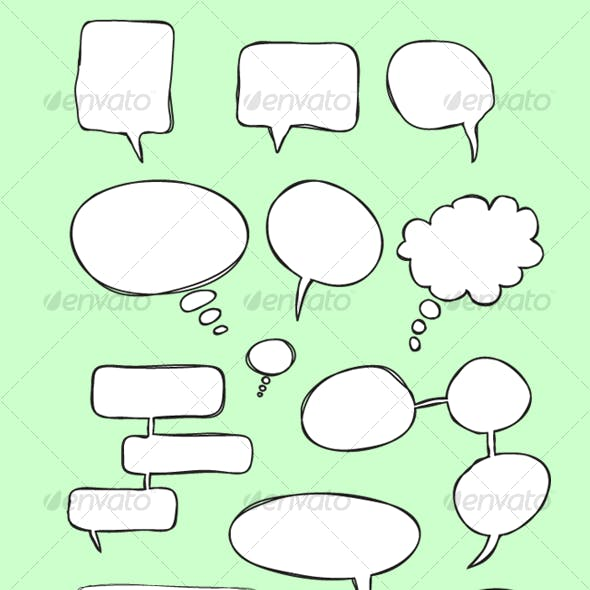 Comic Hand Drawn Speech Bubbles (vector)
