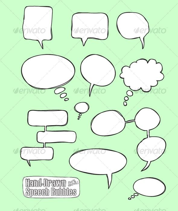 Comic Hand Drawn Speech Bubbles (vector) - Decorative Vectors