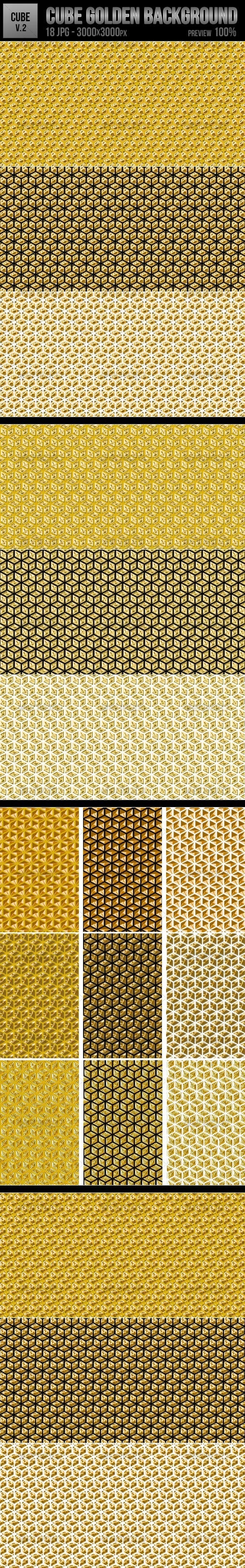Cube Golden Backgrounds - Abstract Backgrounds
