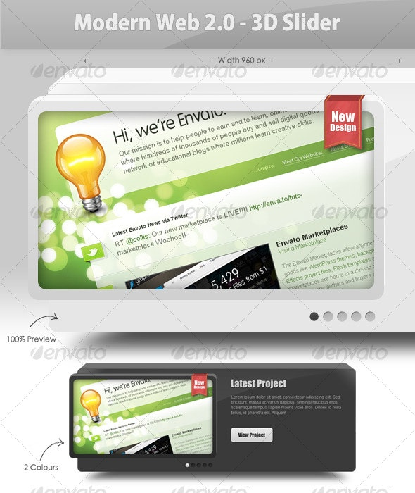 Modern Web 2.0 - 3D Slider - Web Elements