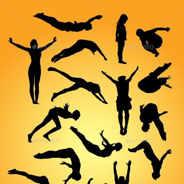 Jump Dive Sport Silhouettes