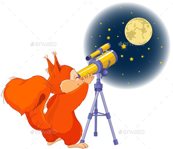 Squirrel Astronomer - Animals Characters
