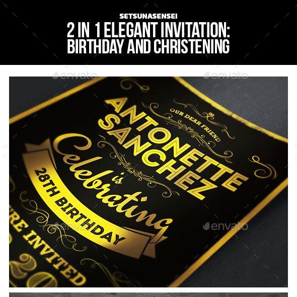 2 in 1 Elegant Invitation: Birthday and Christening/Baptism