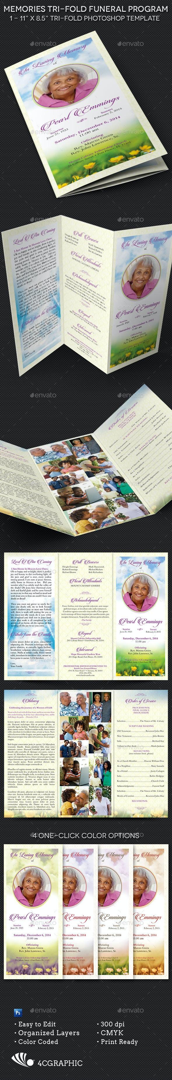Memories Tri-fold Funeral Program Template - Informational Brochures