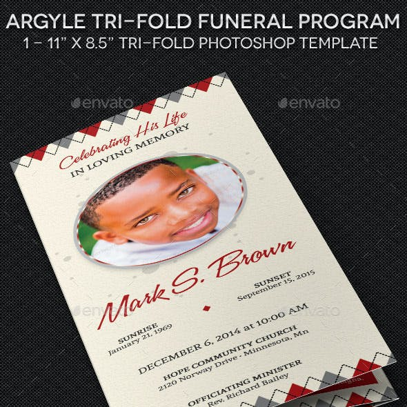 Argyle Tri-Fold Funeral Program Template