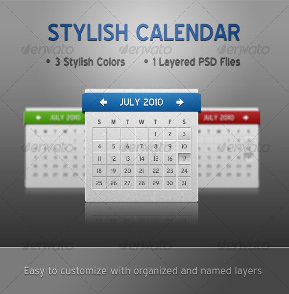 Slick Calendar - 3 Colors - Miscellaneous Web Elements