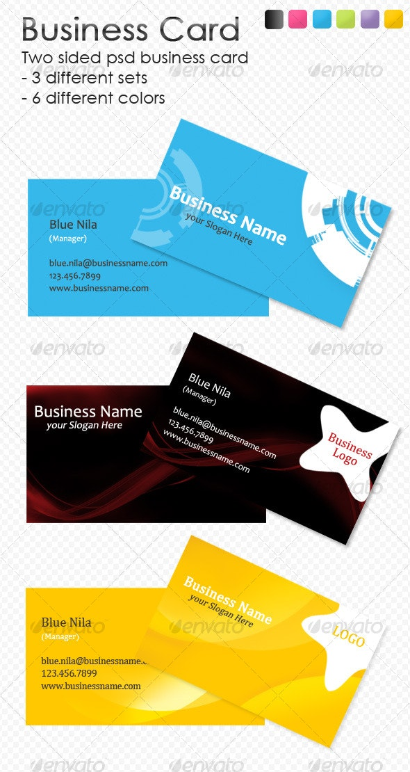 Clean Business Card - 6 colors, 3 different style - Corporate Business Cards