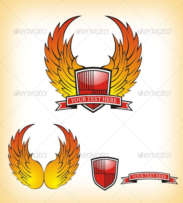 Red wing shield - Abstract Conceptual