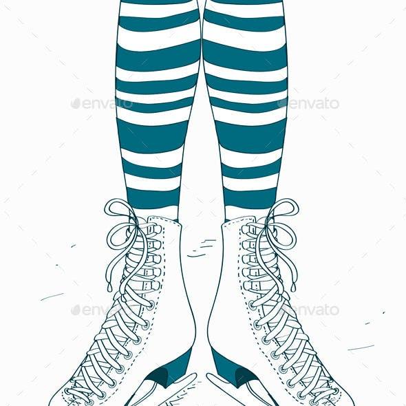 Illustration with Female Legs in Skates