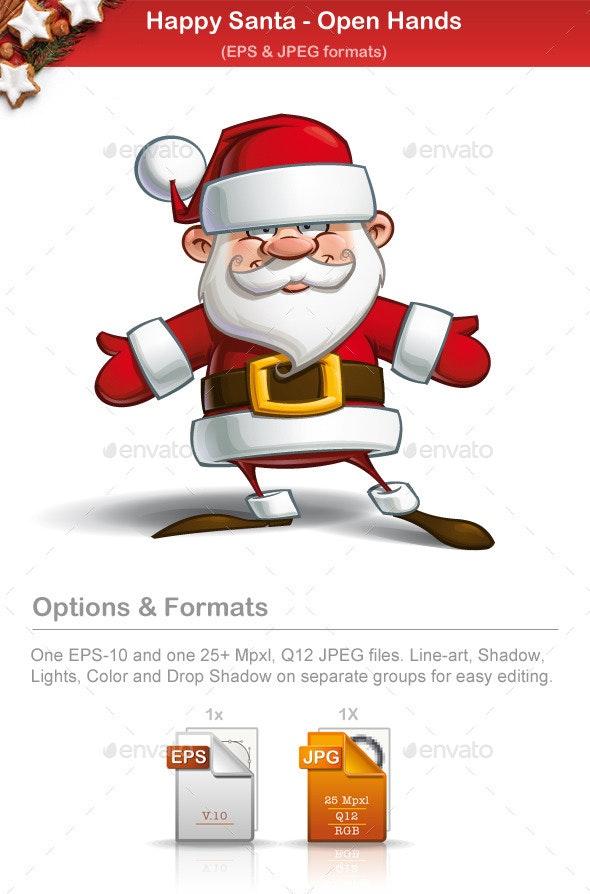 Happy Santa - Open Hands - People Characters