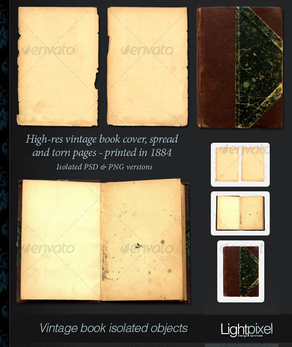 Vintage Book and Pages - Home & Office Isolated Objects