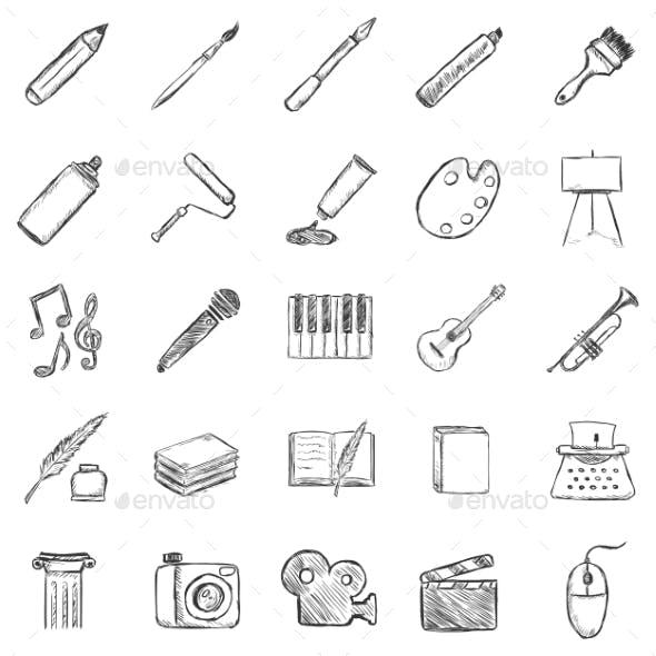 Set of Sketch Art Icons