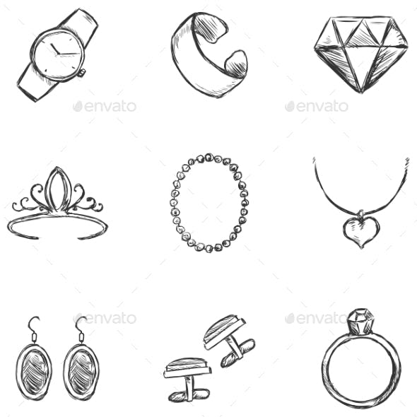 Set of  Sketch Jewelry Icons
