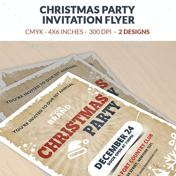 Christmas Party Invitation Flyer Template