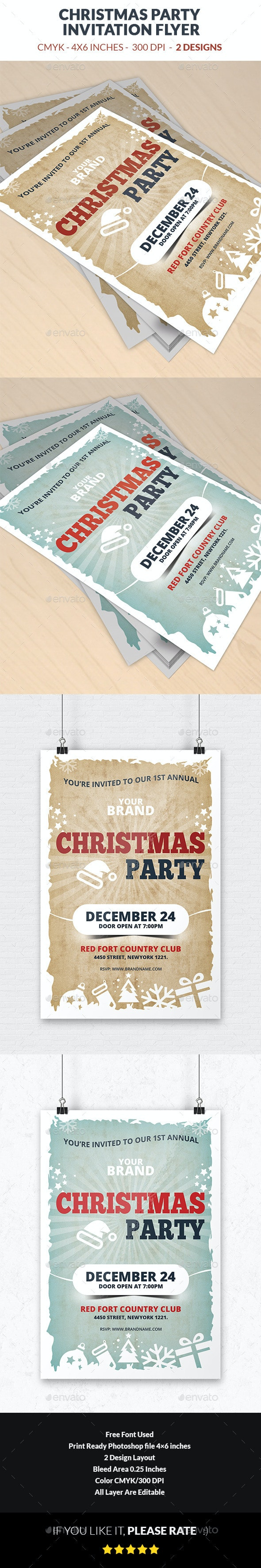 Christmas Party Invitation Flyer Template - Events Flyers