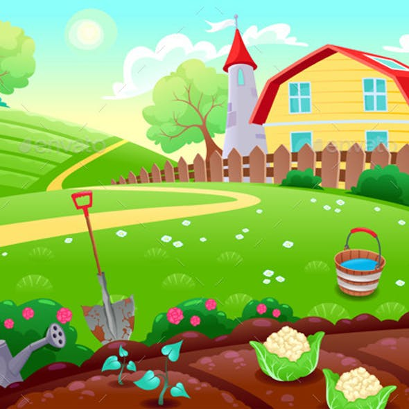 Countryside Scenery with Vegetable Garden
