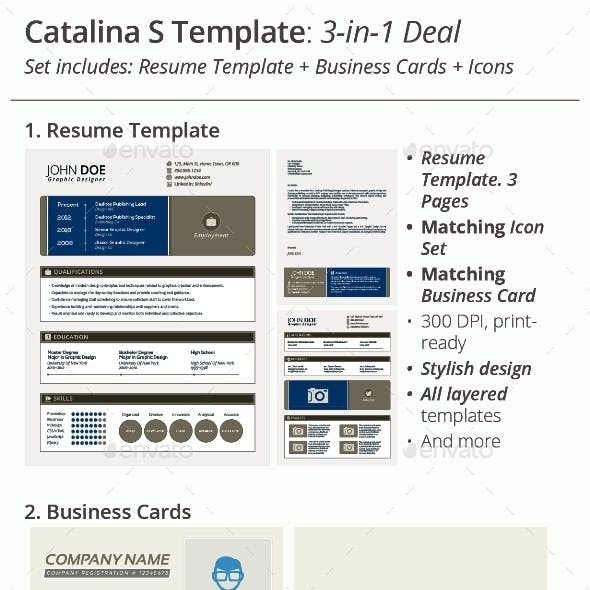 3-in-1 Deal: Resume Template + Icons + Business Card, Catalina S Template