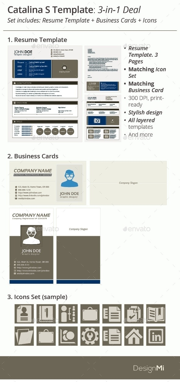 3-in-1 Deal: Resume Template + Icons + Business Card, Catalina S Template - Resumes Stationery