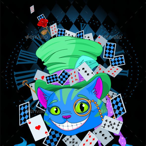 Cheshire Cat in Top Hat Design