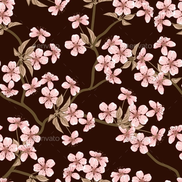 Cherry Blossom Seamless Pattern - Flowers & Plants Nature
