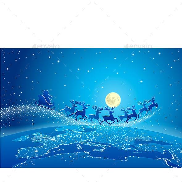 Santa Claus and Reindeer in Sky