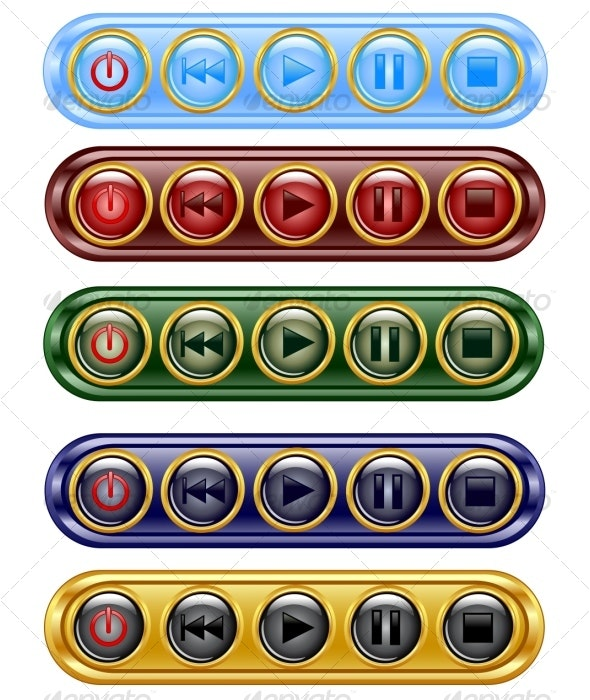 set of media icon buttons  - Media Technology