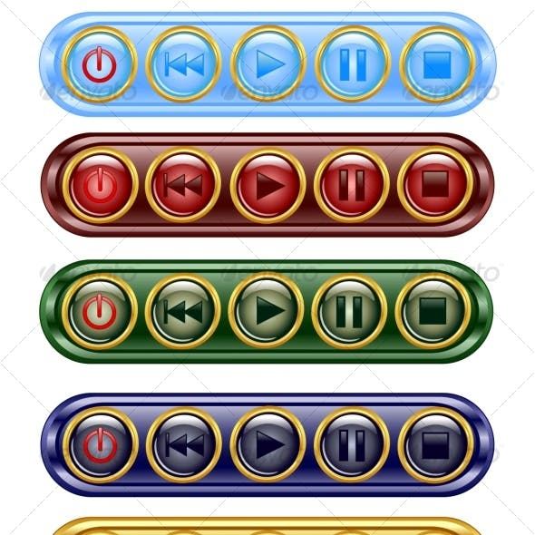set of media icon buttons