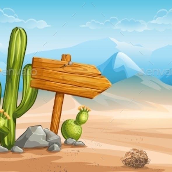 Wooden Sign in the Desert