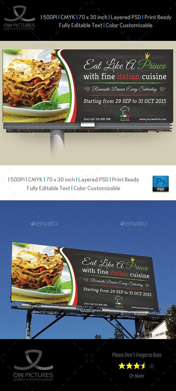 Italian Restaurant Billboard Template - Signage Print Templates