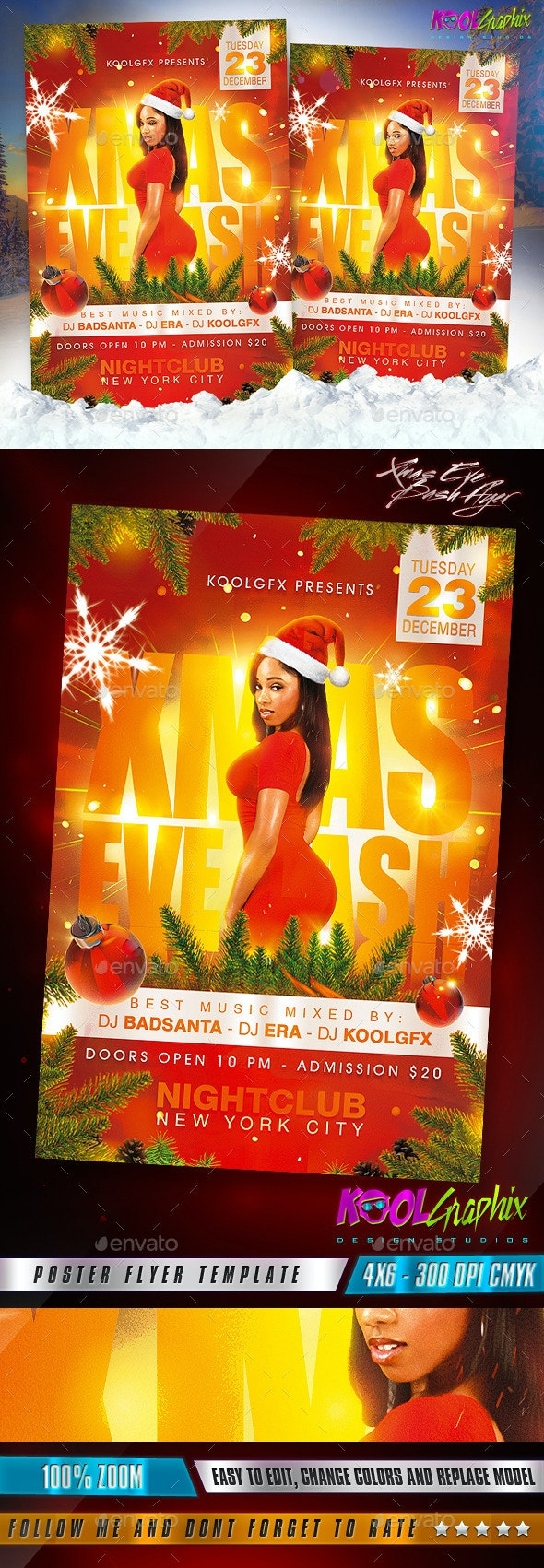 Xmas Eve Bash Party Flyer Template - Holidays Events