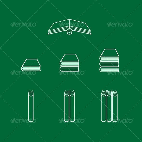 Book Icons - Series 1 - Decorative Symbols Decorative
