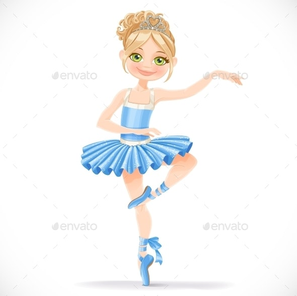Ballerina Girl Dancing in Blue Dress - People Characters
