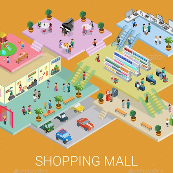 Isometric Shopping Mall Concept