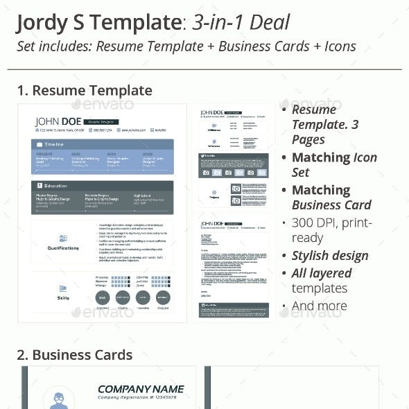 3-in-1 Deal: Resume Template + Icons + Business Card, Jordy S Template