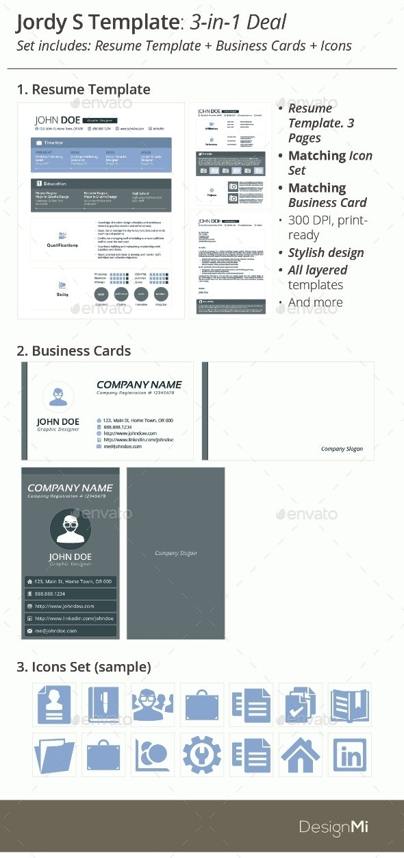 3 In 1 Deal Resume Template Icons Business Card Jordy S