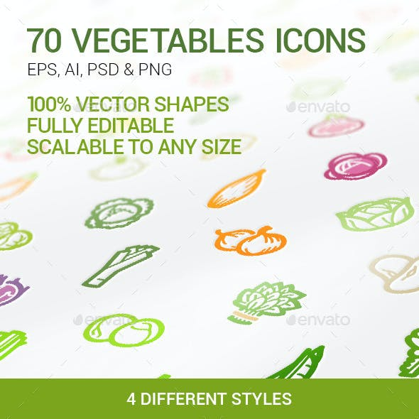 70 Vegetables Icons