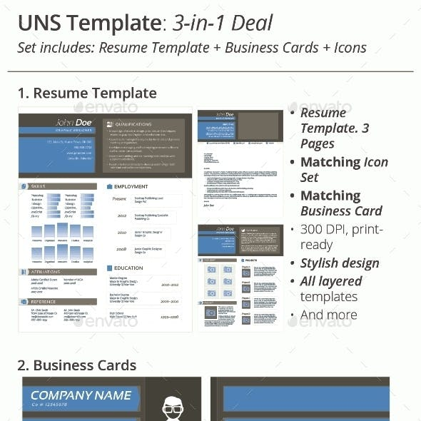 3-in-1 Deal: Resume Template + Icons + Business Card, UNS Template