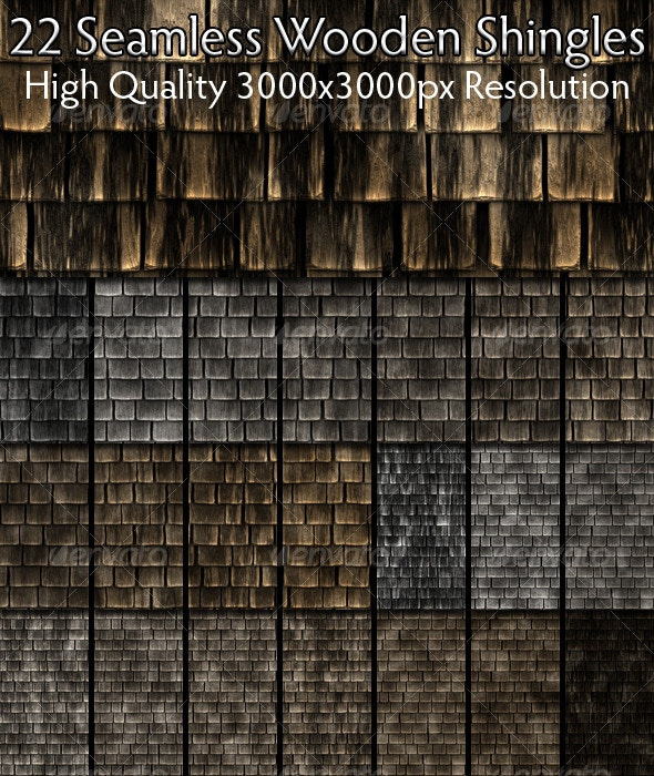 22 Seamless Wooden Shingles - Wood Textures