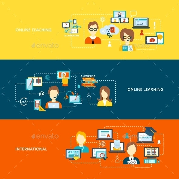 E Learning Banners By Macrovector Graphicriver