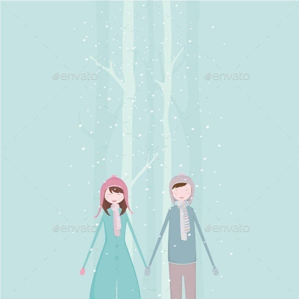Boy and Girl Holding Hands During Winter Time