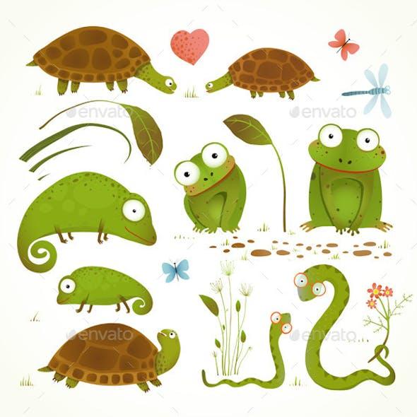 Cartoon Green Reptile Animals