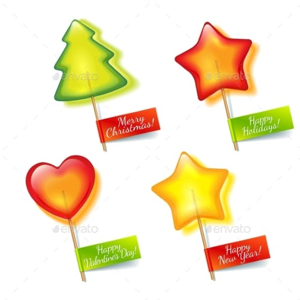 Four Bright Holiday Lollipops